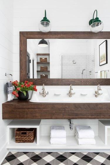 unique bathroom floor tile idea in farmhouse bath