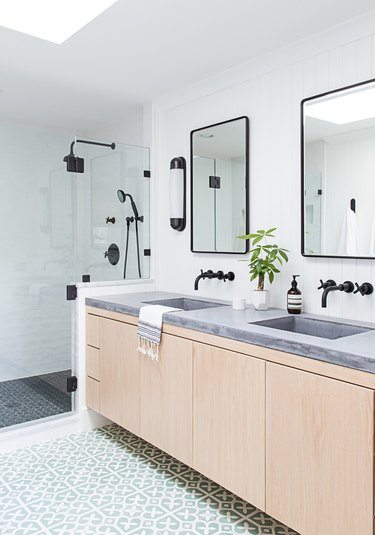 sleek and modern bathroom vanity idea with clean cabinet fronts