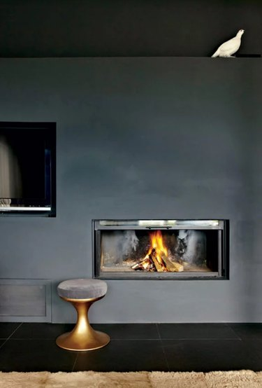 Fireplace with black walls