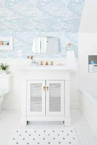 petite bathroom vanity idea in vintage inspired bathroom
