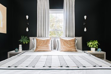 Modern black bedroom idea with black walls