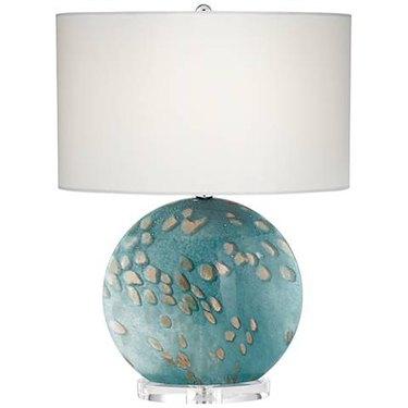 Calypso Blue Sea Round Art Glass Table Lamp