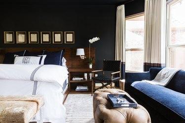 Transitional black bedroom