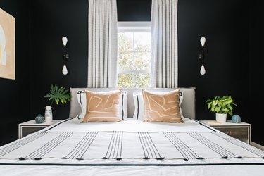 Modern black bedroom idea with black walls