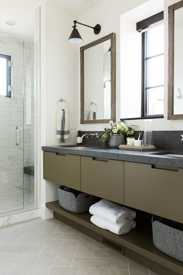 olive and grey bathroom vanity idea