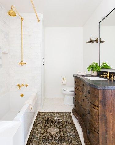 vintage bathroom vanity idea in a renovated bathroom