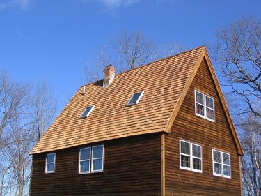 new cedar shake roof on saltbox house