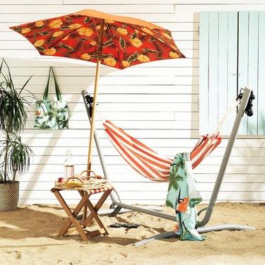 floral patterned patio umbrella