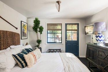 hessian roman blinds window treatments in bedrooms