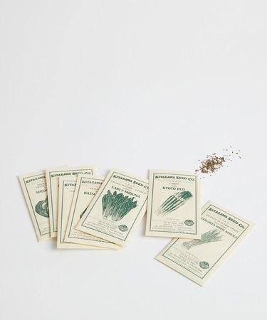 five envelopes of seeds