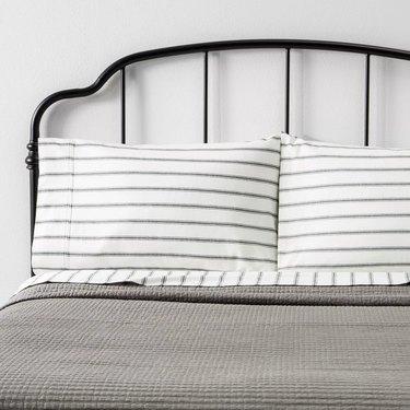 Magnolia hearth & hand tic stripe pillowcase set for rustic bedroom idea
