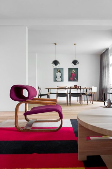 midcentury living and dining room with minimal furnishings
