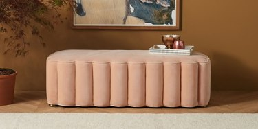 pink scalloped bench