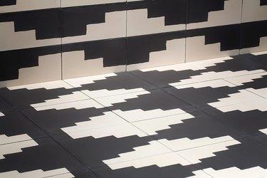 Black and white geometric tile