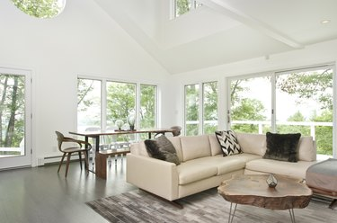 Rustic living room idea with large windows