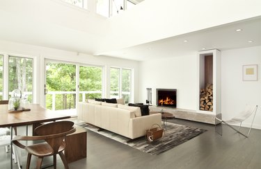 Modern Rustic living room idea with fireplace