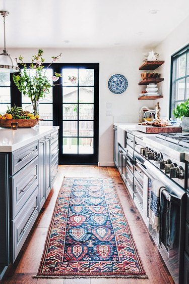 area rug in kitchen