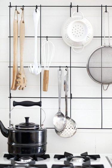 hanging utensils in kitchen