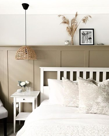traditional IKEA bedroom idea with greige wainscoting