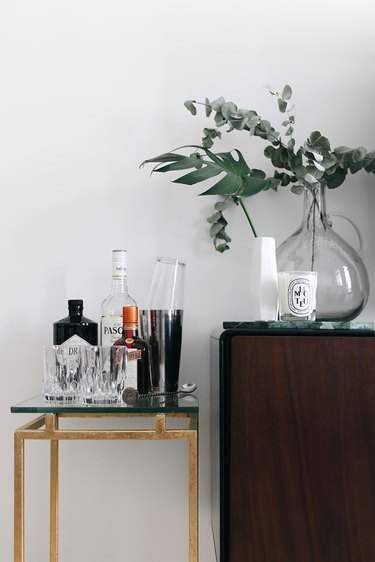 living room bar idea with side table next to credenza