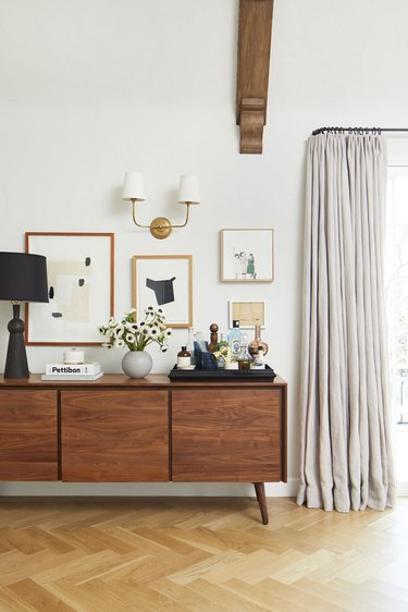 living room bar idea with bar tray on top of credenza