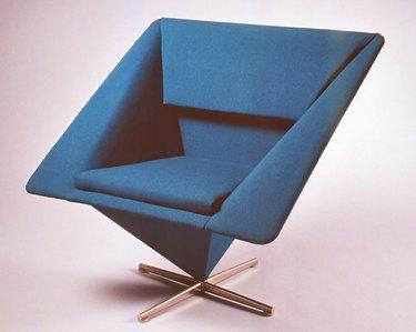 blue midcentury modern pyramid chair