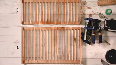 Plate rack support cut to same size of plate rack