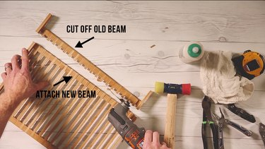 Cutting off excess wood from plate rack