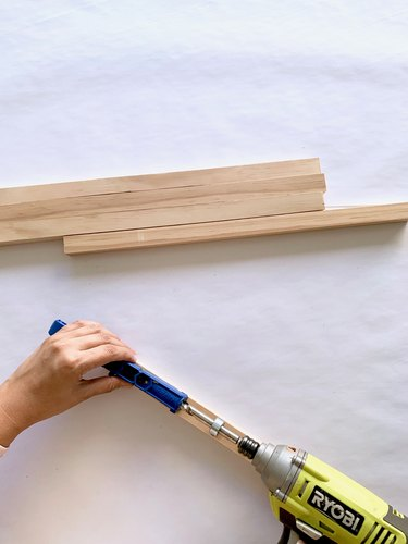 Wood and drill for modern towel rack DIY