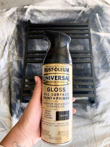 Black spray paint for modern towel rack DIY