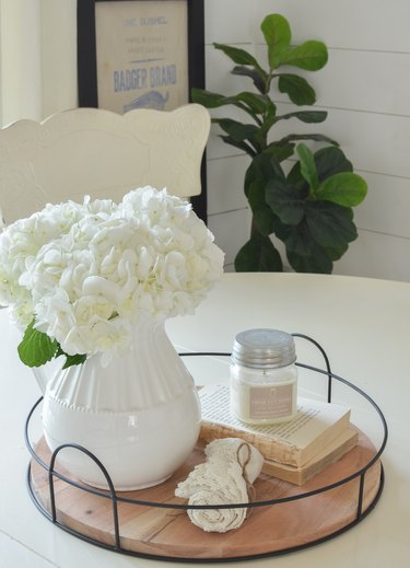 DIY home decor idea for your living room with rustic tray