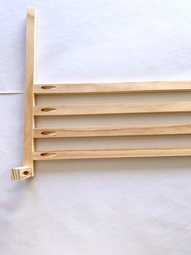 Wood dowels for modern towel rack DIY