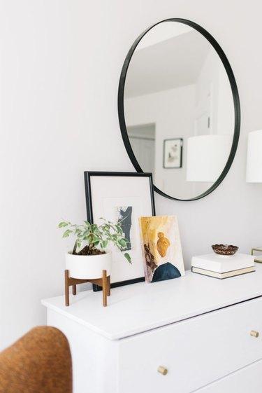 dresser idea for minimalist decorating on a budget