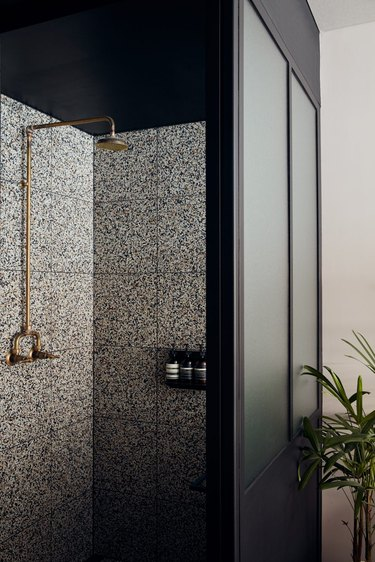 black-and-white bathroom idea with shower alcove