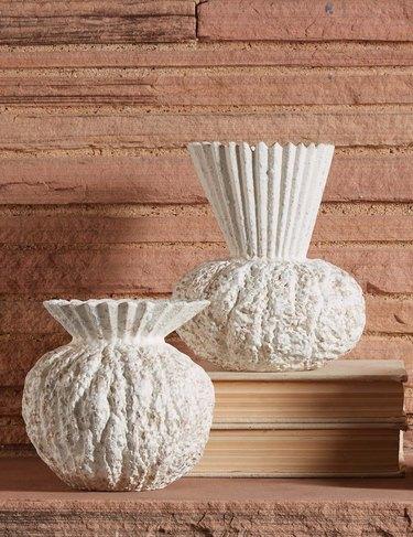 two white vases