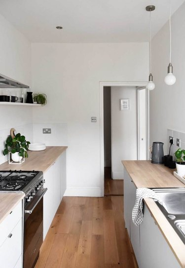 kitchen idea with wood countertops for minimalist decorating on a budget