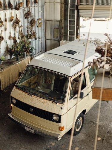 The Unlikely Florist van parked in the studio