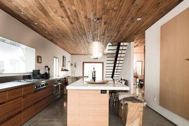 Modern, minimalist kitchen with wood
