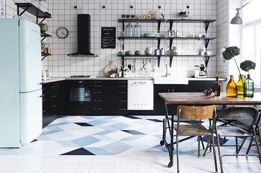 blue geometric patterned kitchen floor paint