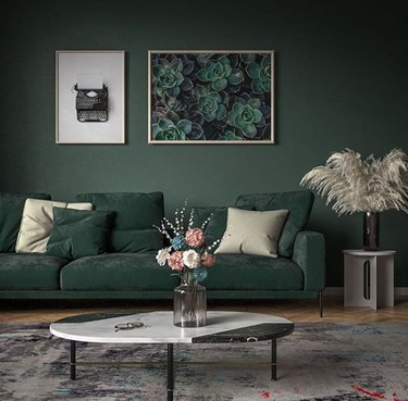 colors that go with green, monochrome sage green living room