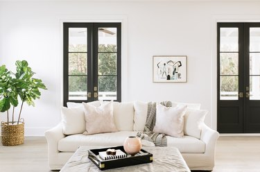black-and-white living room idea with black French doors and white sofa