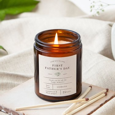etsy first fathers day candle