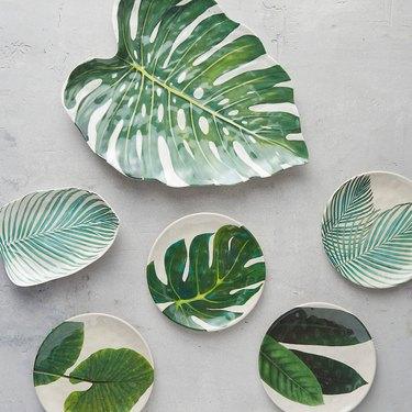 palm serving platters