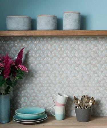 blue and gray mosaic kitchen backsplash