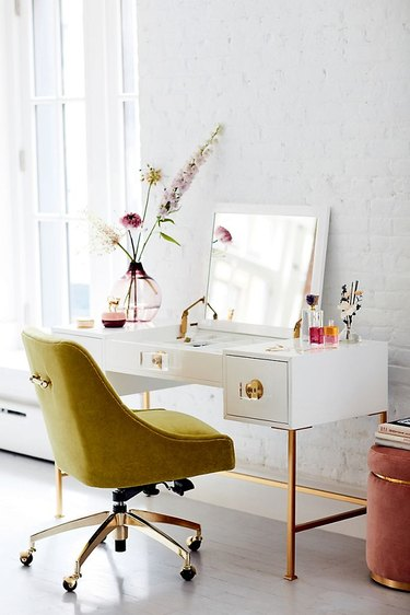 chartreuse color idea in white study with vanity and chartreuse chair