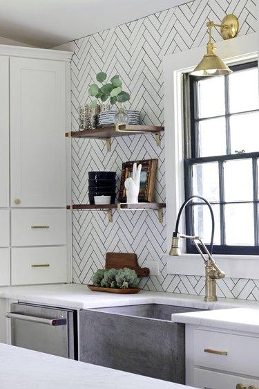 white herringbone subway tile kitchen backsplash