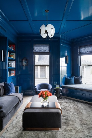 living room decorated in cool colors of blue