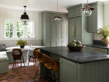 kitchen with green cabinets and more cool colors