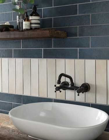 creative subway tile kitchen backsplash with blue and taupe tiles