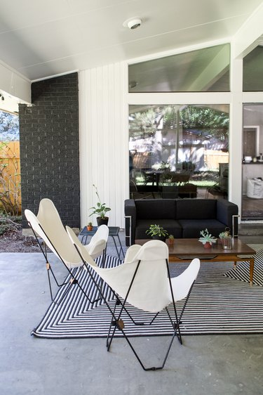 Kirsten Grove outdoor patio with sofa and butterfly chairs